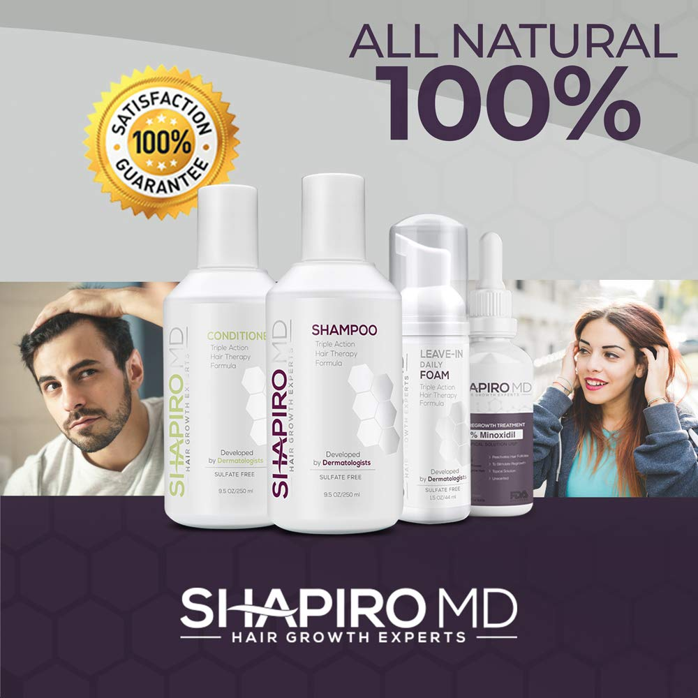 Hair Loss Leave-In Daily Foam | All-Natural DHT Blockers for Thinning Hair Developed by Dermatologists | Experience Healthier, Fuller & Thicker Looking Hair - Shapiro MD | 1-Month Supply by Shapiro MD Hair Growth Experts