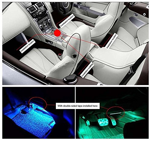 Car LED Strip Light 4pcs 72 LED Multicolor Music Car Interior Light LED Under Dash Lighting Kits DC 12V with Sound Active Function and Wireless Remote Control, Car Charger Included by Henlight (Image #5)