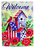 Cheap Evergreen Flag American Patriotic Birdhouse Suede House Flag, 29 x 43 inches
