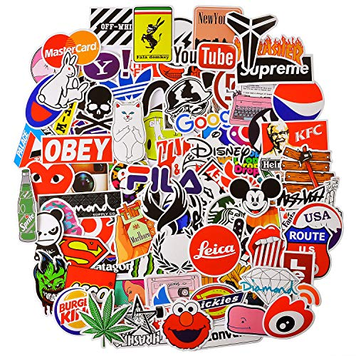 Street Fashion Brand Sticker Packs, 100 Pcs Waterproof Stickers for Hydro Flask, Laptop, Luggage, Skateboard, Motorcycle, Bicycle, Phone, Cute Decal Graffiti Patches for Teens Funny from AMOSTBY
