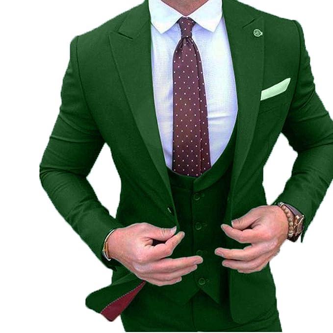 3d14a53a6 YSMO Men s Slim Fit Tuxedos 3 Piece Suits Jacket   Pants   Vest ...