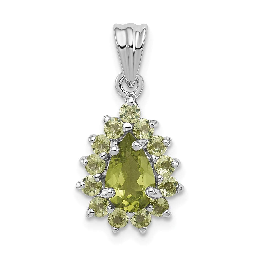 20mm x 10mm Mia Diamonds 925 Sterling Silver Solid Rhodium Peridot Pear-Shaped Pendant