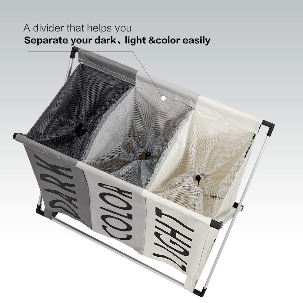 Foldable Hamper Divided Large Dirty Clothes Hamper Sorter for Bathroom HOMEST Laundry Basket 3 Sections Dark Grey