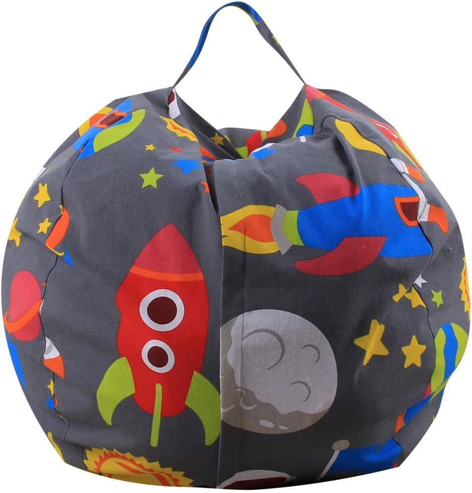 DFVVR Kids Stuffed Animal Plush Toy Storage Bean Bag Soft Pouch Stripe Fabric Chair B B