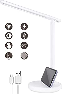 RENOOK LED Desk Lamp, Eye-Caring Table Lamps, Dimmable Office Lamp with USB Charging Port, 3 Lighting Modes with Stepless Dimming Brightness, Touch Control, Phone Holder