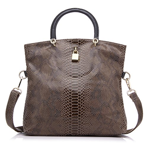 Women Tote Bag Split Serpentine Leather Handbag Multifunctional Ladies Messenger Bags Clutch Purse by Realer Kahki