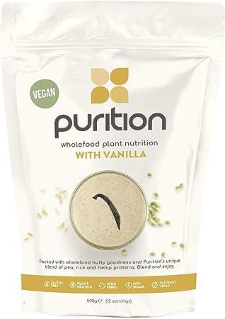 Purition Batido de proteínas veganos de Vainilla (500g). Batido para el desayuno sin lácteos