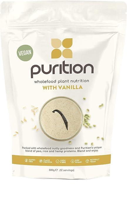 Purition Batido de proteínas veganos de Vainilla (500g). Batido para el desayuno sin