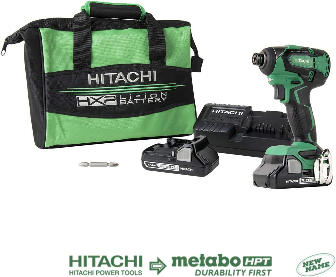 Hitachi WH18DBFL2S 18V Cordless COMPACT Lithium-Ion Brushless 1, 522 in-lbs. Impact Driver Kit
