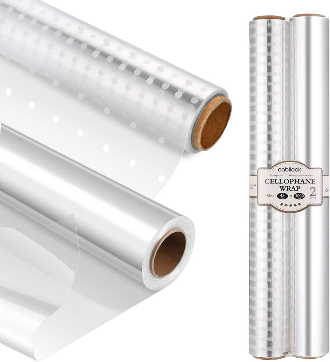 Cabilock Clear Cellophane Wrap Roll 100 Feet Long 17 Inches Wide Transparent Gift Wrap White Dot Florist Paper Wrapper for Baskets Gifts Flowers Food Safe Cello Rolls (2 Pack)