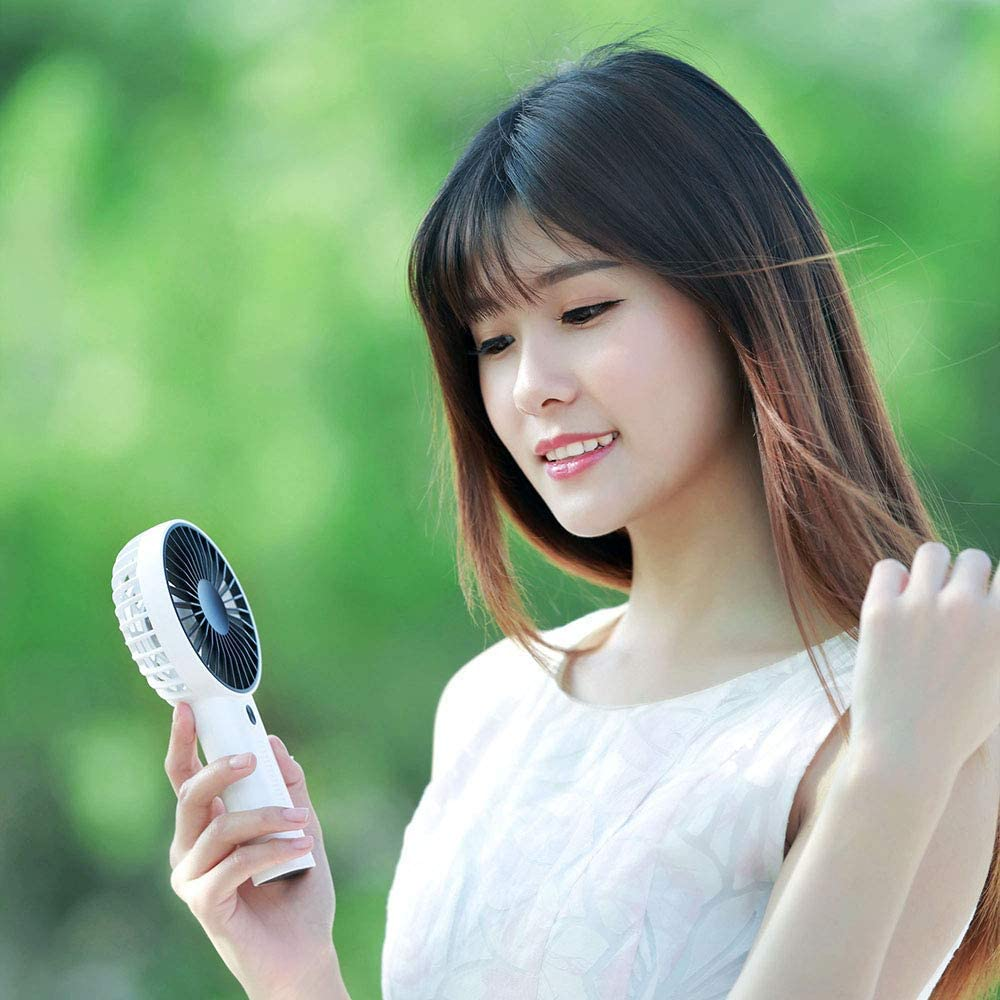 RBH Portable Handheld Fan Home Office Outdoor Travel Long Standby Quiet Electric Cooling Fan Mobile Phone Holder Mini Fan USB Rechargeable Battery