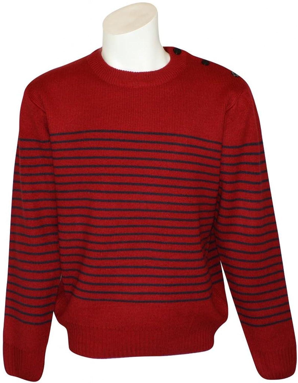 Men's Relco Classic Red Retro Naval Striped Heavy Knit Jumper
