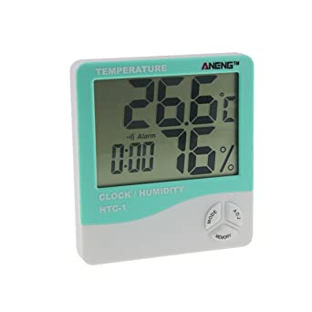 UKCOCO Termómetro digital higrómetro, sala interior LCD temperatura electrónica Medidor de humedad Weather Alarm Clock