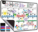 "Magnetic Dry Erase Calendar Sheet for Fridge: with Stain Resistant Technology - Includes 4 Fine Tip Markers and Large Eraser with Magnets -17x12"" Monthly Whiteboard Organizer: Refrigerator White Board"