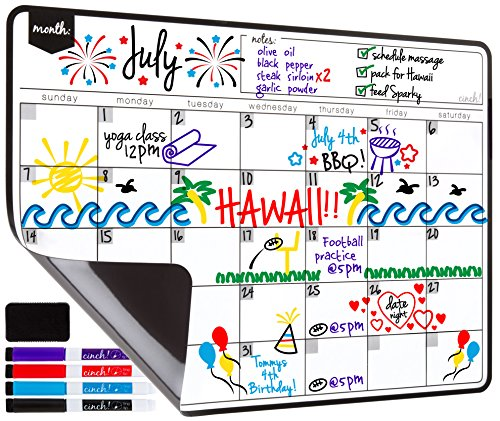Cinch! Magnetic Dry Erase Calendar Sheet for Fridge with Stain Resistant Technology- (Magnetic Strips Planning Kit)