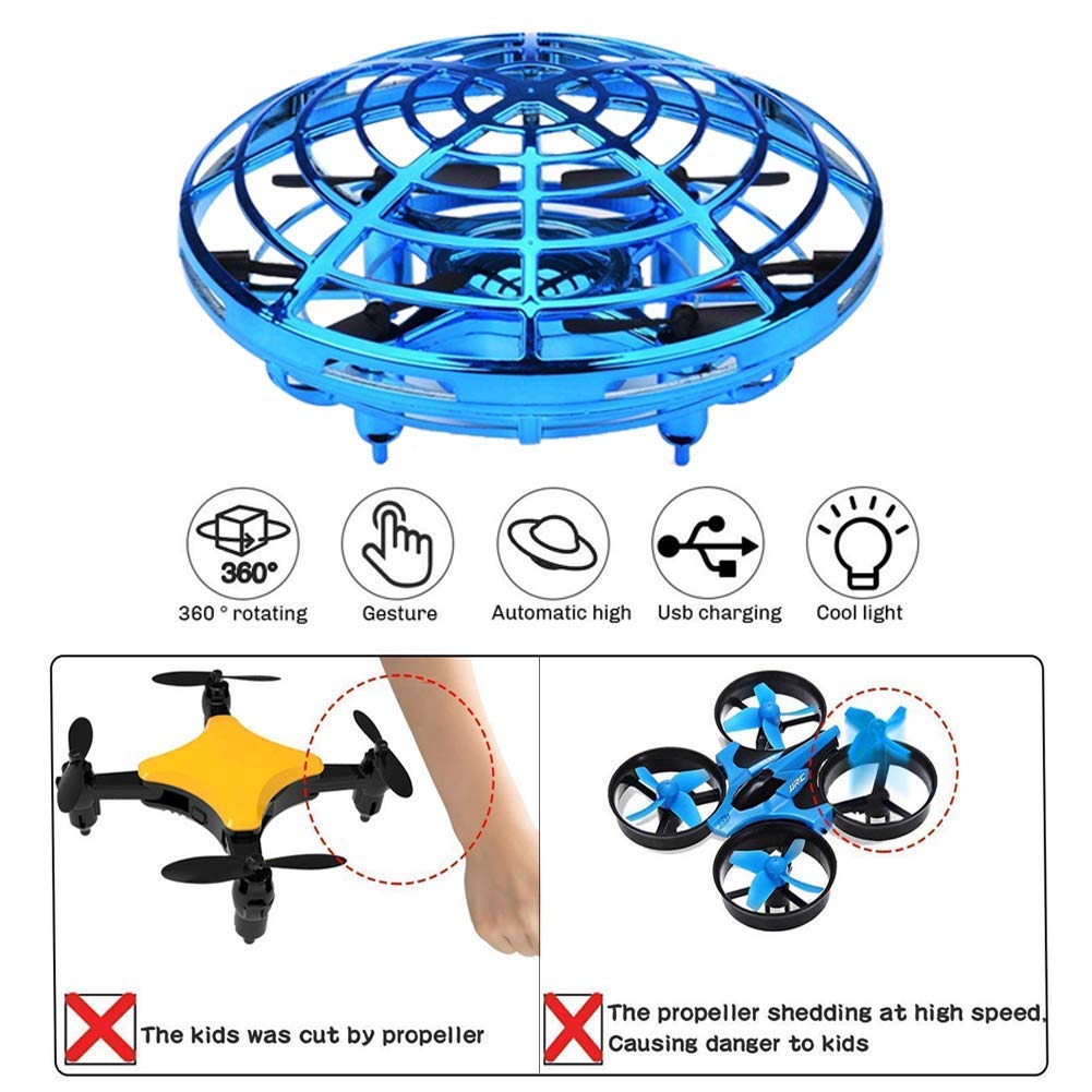HYSBeauty UFO Flying Ball Toys, Gravity Defying Hand-Controlled, UFO Drones Toys, Infrared Induction Interactive Drone Indoor Flyer Toys with 360°Rotating & LED Lights for Kids, Boys & Adults(Blue) by HYSBeauty (Image #2)