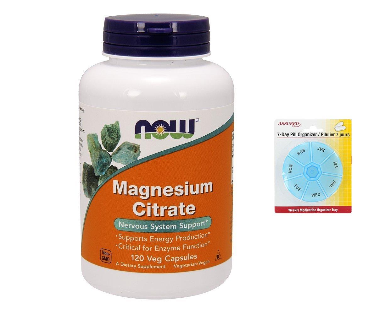 Amazon.com: AHORA citrato de magnesio, 120 vegetales cápsulas con gratis 7 días plástico píldora organizadores: Health & Personal Care