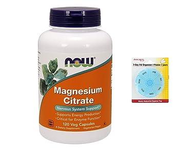 AHORA citrato de magnesio, 120 vegetales cápsulas con gratis 7 días plástico píldora organizadores