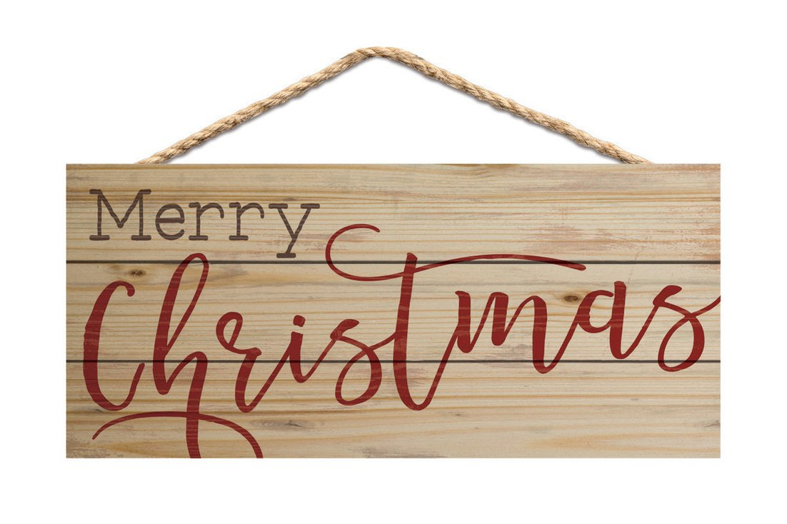 Merry Christmas Natural 10 x 4.5 Wood Wall Hanging Plaque Sign