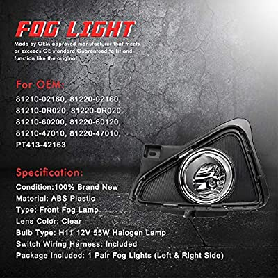 Driving Fog Lights Lamps Replacement for Toyota RAV4 2016 2020 2020 with H16 12V 19W Halogen Bulbs & Switch and Wiring Kit (Clear Lens): Automotive