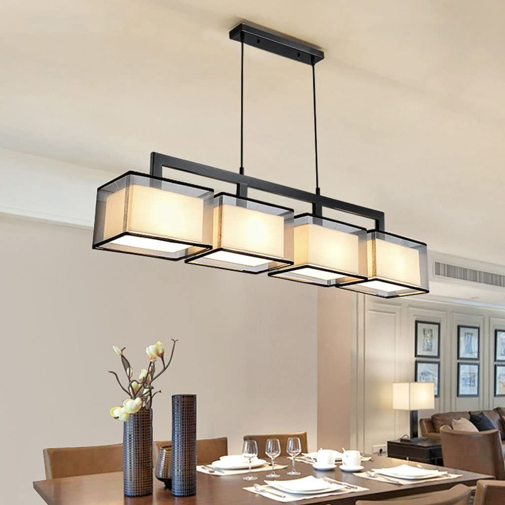 Chandeliers Iron Art Modern Simple Living Room Dining Table Northern Europe  Single Head Rectangle Ceiling Lights Color  Black, Size  9cm