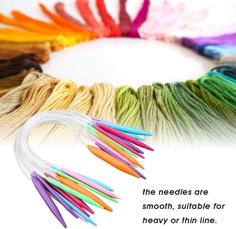 12pcs Kit dAiguilles /à Tricoter Circulaires en Plastique Multicolore 40CM Ensemble dAiguilles de Chandail