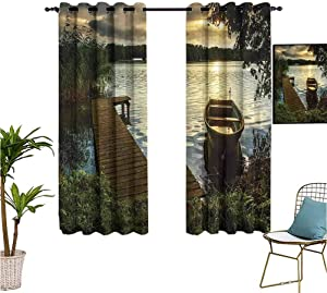 Seascape,Sports Curtains,Boat at Lake Shore with Wooden Pier Sunset Sunbeams Romantic Evening,Isolate Sunlight Dark Curtains,55x63 Inch Brown Dark Green Yellow