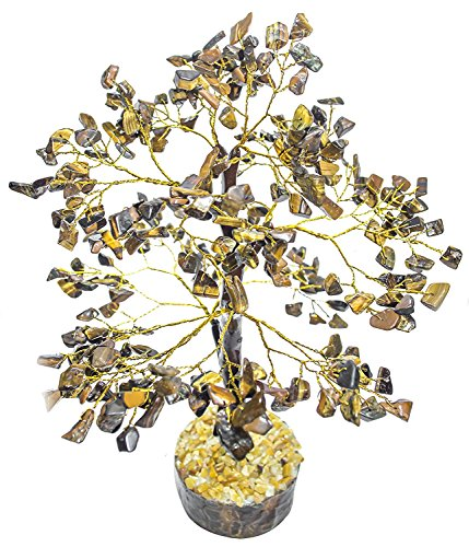 - FASHIONZAADI Tiger Eye Natural Stone Feng Shui Bonsai Money Tree for Chakra Balancing Good Luck EMF Protection Healing Table Décor Health Prosperity Size 10-12 inch (Golden Wire)
