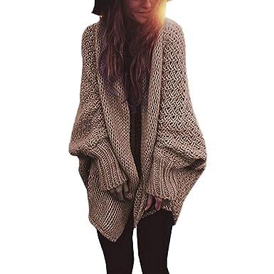 FuweiEncore Gran Batwing Manga Moda Mujer Tejida Tela suéter Abrigo Ocio Color sólido Bolsillo Abrigos Delgada en Larga sección Larga suéter (Color, ...