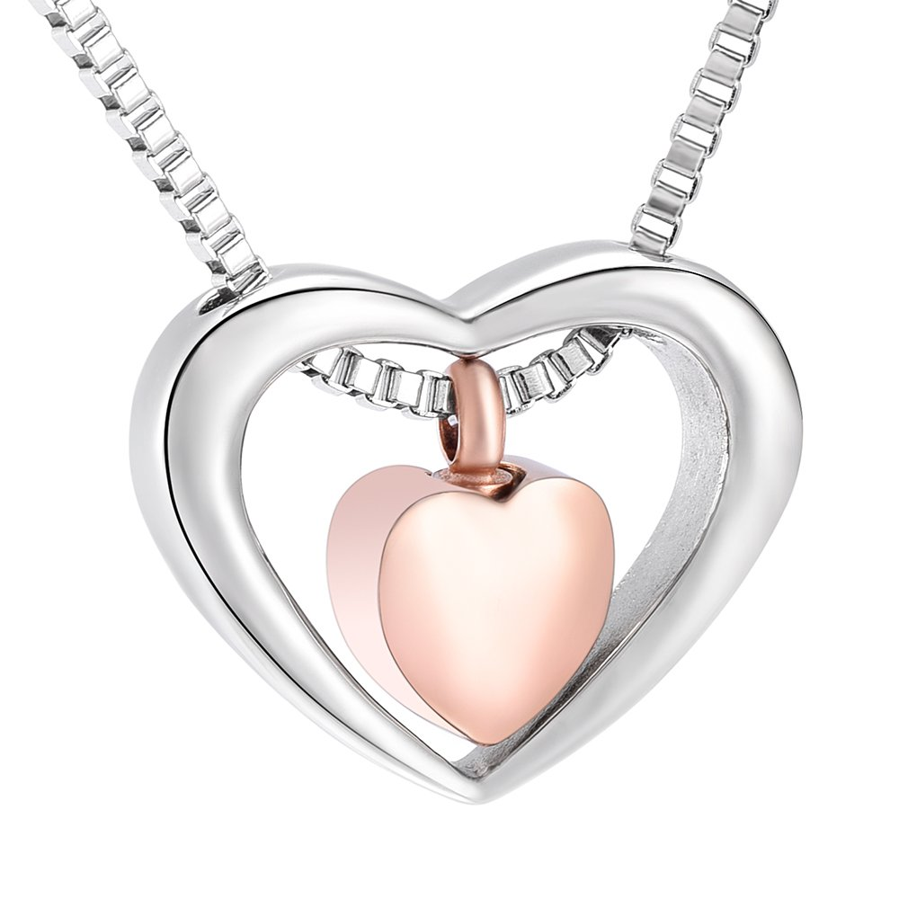 Double Heart Cremation Jewelry for Ashes Pendant Locket for Human Ashes Keepsake Memorial Urns Necklace for Women