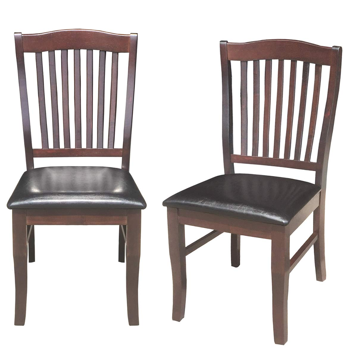 Giantex Set Of 2 Dining Chairs Wood Armless Chair Home Kitchen Room High Back W PU Leather Padded Seat 175x21x40WxDxH Dark Brown