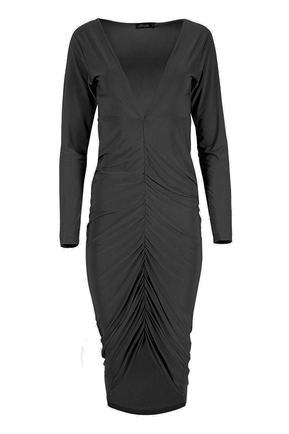 Amazon.com  Oops Outlet Women s V Neck Plunge Bodycon Fitted Slinky Middle  Ruched Midi Dress  Clothing 48cf26fe0