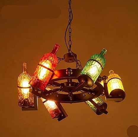 WSND Creativo retro Loft Tema barras de luz colgante Lámparas de botellas Personalidad Cafe Bar Sala