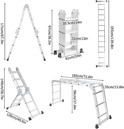 Alu Teleskopleiter Mehrzweckleiter Stehleiter Ausziehleiter Aluleiter Soft Close Leiter Leiter Rutschfester Ausziehbar Klappleiter Tragf/ähigkeit 150 kg 3.5m