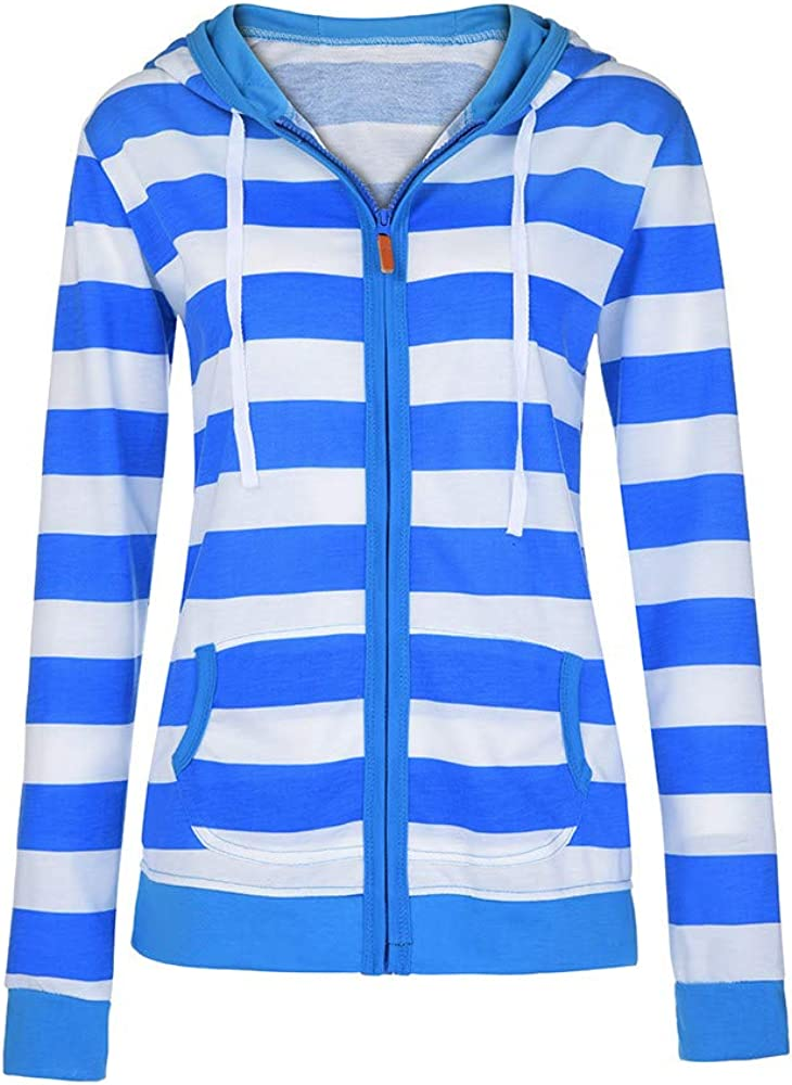 Kimloog Womens Long Sleeve Striped Hoodie Jacket Autumn Pockets Sports Sweatshirt Coat