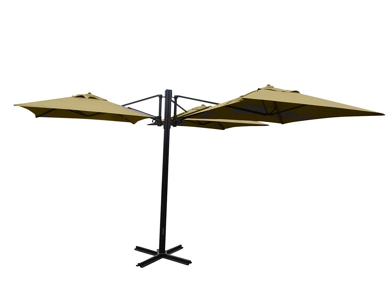 Madison Gastronomie Gartenschirm Murano III mit drei separat verstellbaren Schirmen in natur - ecru, UV-Schutz 40 Plus