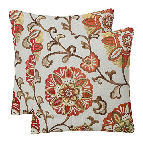 100% Rayon Hand Wash (Pack of 2 Simpledecor Throw Pillow Covers Decorative Pillow Cases, 20X20 Inches, Jacquard Floral Pattern, Red Brown Cream)