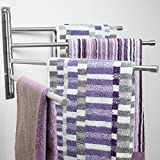 Swing Out Towel Bar - Stainless Steel  Swivel Towel Rack - Space Saving Swinging Towel Bar for Bathroom - Wall Mounted Towel Holder Organizer with 4 Arms- Easy To Install - Brushed Finish (20''X10'')