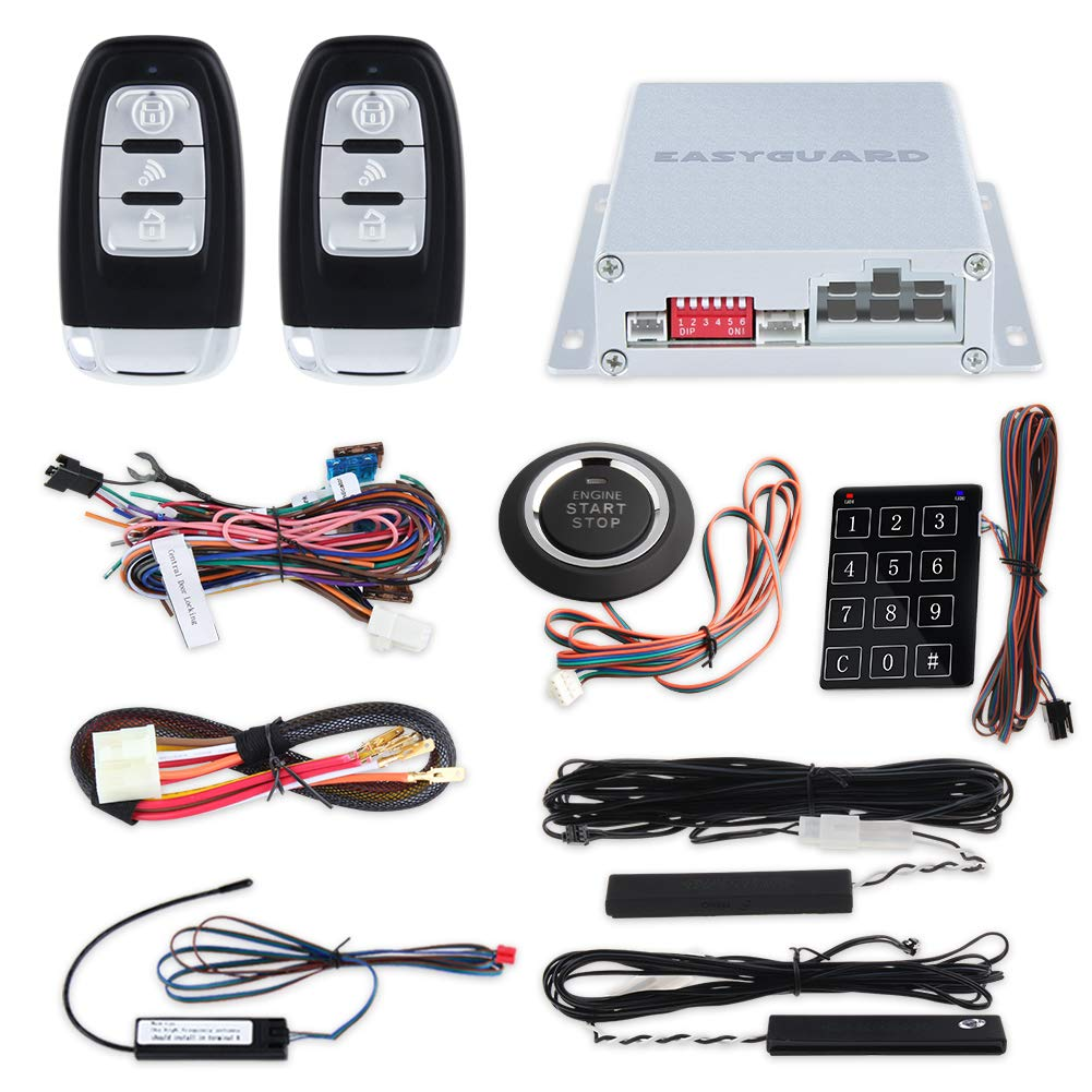Easyguard Ec002 Smart Key Rfid Pke Car Alarm System Excalibur Keyless Entry Wiring Diagram Passive Remote Engine Start Starter Push Button Touch Password