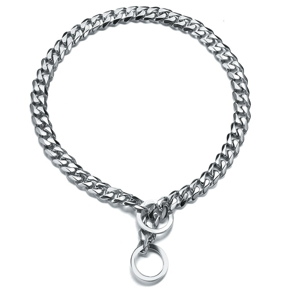 Dog Choke Collar Trainning Slip  Iron Metal Stainless Steel Silver Cuban Chain for Pitbulls and Large Breeds