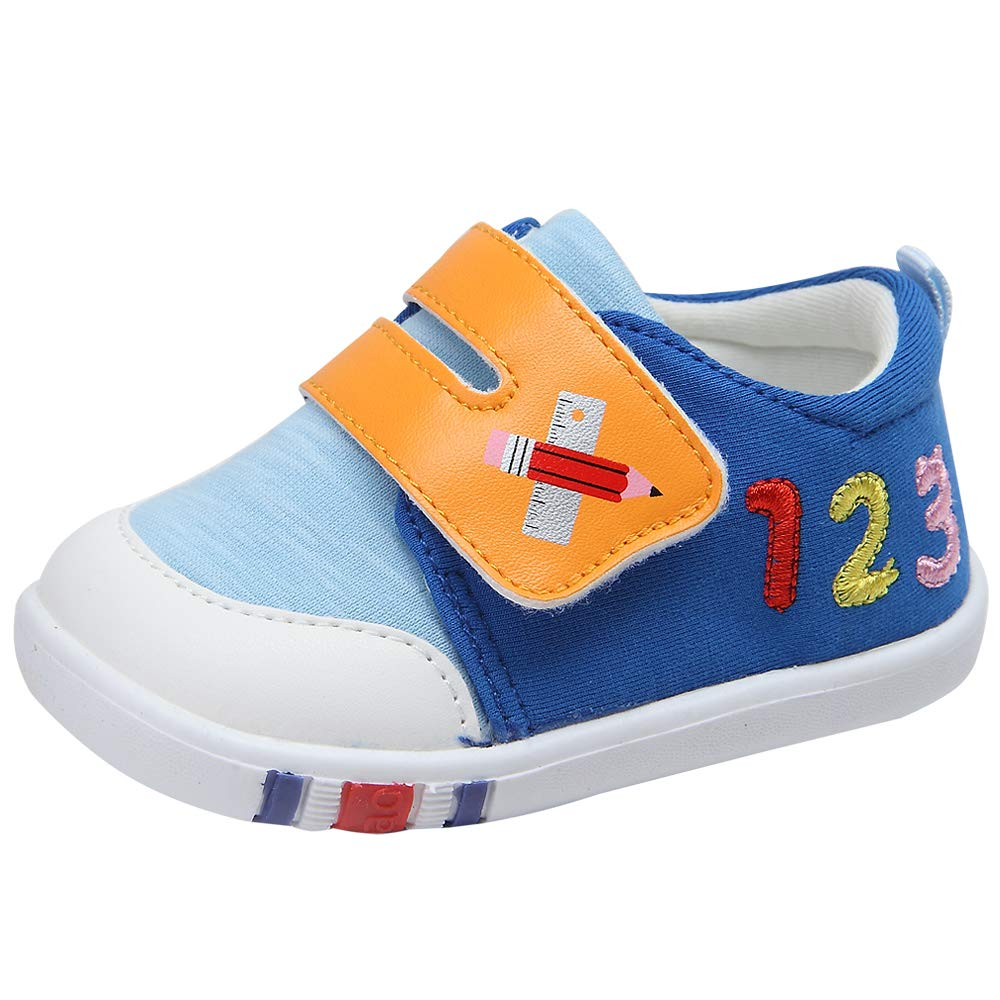 Kuner Cartoon Baby Casual Breathable Shoes for Baby Girls Boys Outdoor Sneakers First Walkers 9-24 Months(18(Inside length-13.6cm)(21-24months),Blue-1)