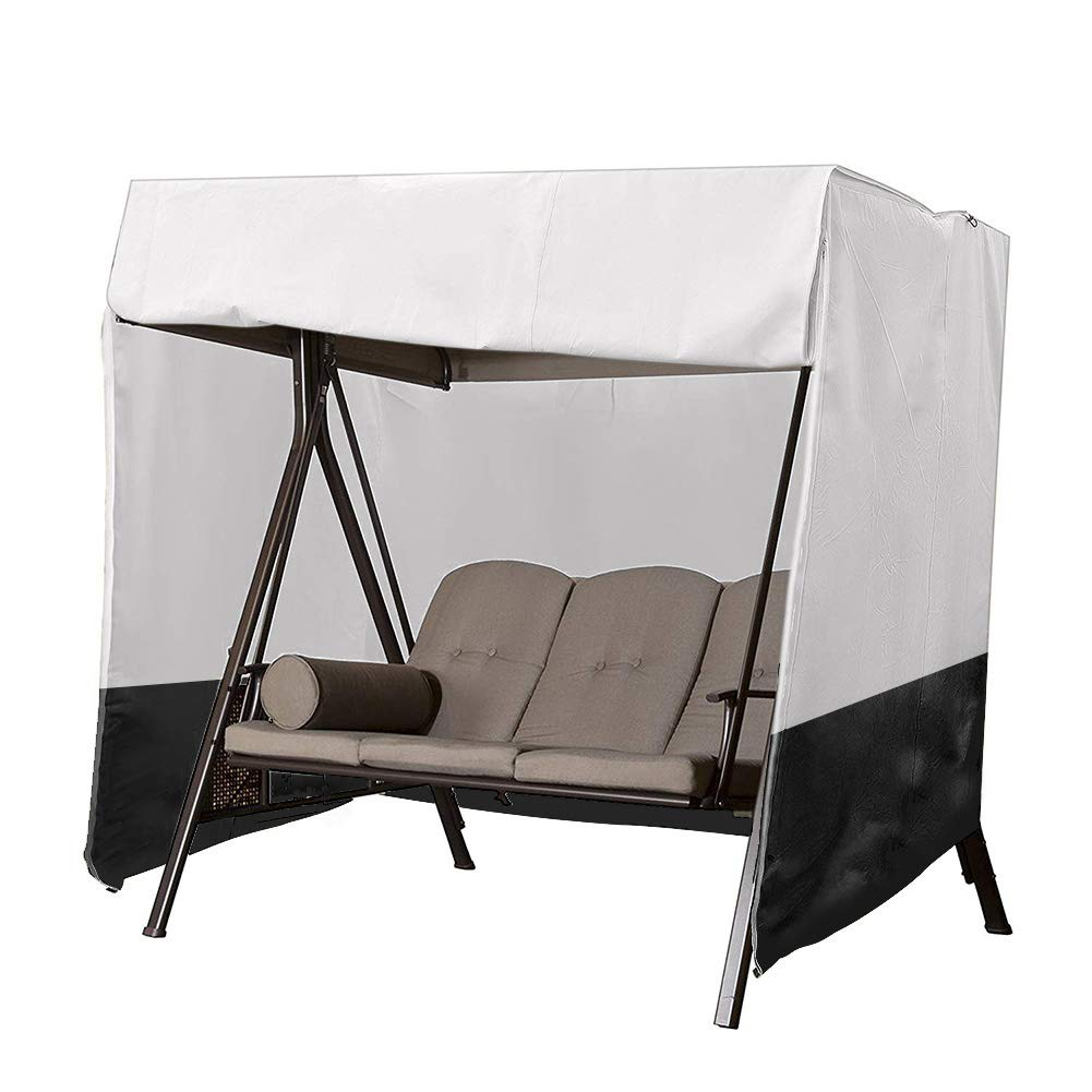 Patio Swing Chair Cover 3 Triple Seater,Outdoor Garden Hammock Glider Chair Cover,Waterproof Windproof Furniture Protector,UV Resistant Swing Canopy Cover,All Weather Protection CYFC90 (Silver+Black) by Cheng Yi