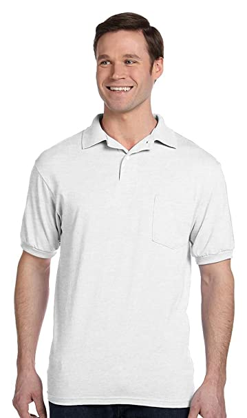 Stedman by Hanes 5.5 oz 50/50 Jersey Knit Polo w/pocket in White - Small at  Amazon Men's Clothing store: Polo Shirts