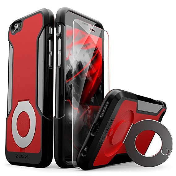 size 40 3d57e 34d7f iPhone 6 Case, iPhone 6s Case, Black Red SaharaCase Kickstand Protective  KitBonus Tempered Glass Screen Protector [Ring Grip Stand] Phone Holder ...