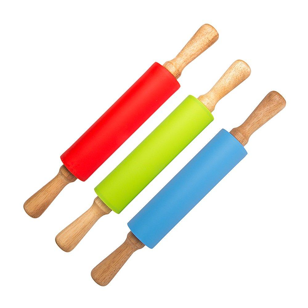 P/âtes artisanales Pizza Pour toutes les P/âtisseries P/âte /à Sucre Fondant Bleu Happy P/âtissier Rouleau /à P/âtisserie Anti Adh/ésif dans une Belle Bo/îte Color/ée//Cadeau 39 cm Silicone