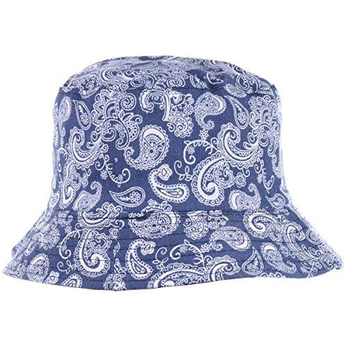 Short Anchor Navy Sailor (BYOS Fashion Packable Reversible Black Printed Fisherman Bucket Sun Hat, Many Patterns (Paisley Navy))