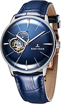 Casual Blue Dial Watches Mens Convex Lens Automatic Watches Leather Strap RGA8239
