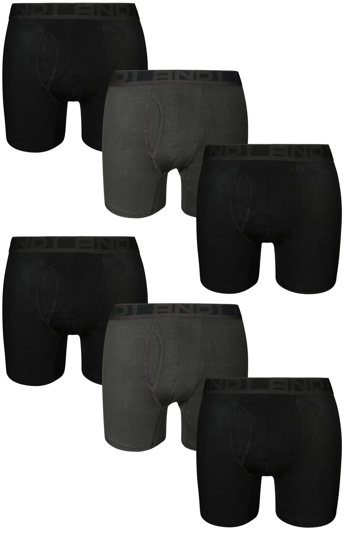 e3d4cdfe3ca6 AND1 Men's Ultra Soft Performance Boxer Briefs Underwear (6 Pack),  Black/Grey/Black, X-Large'