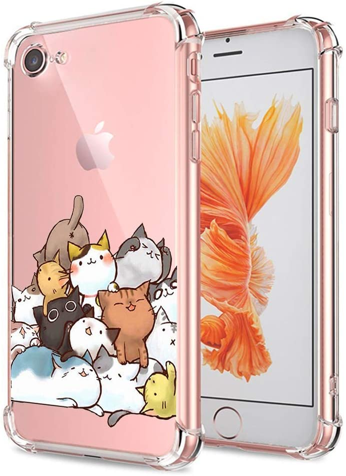 Amazon Com Iphone 7 8 Se 2020 Case Cute Ultra Crystal Clear With Design Cat Slim Fit Shockproof Bumper Protective Cell Phone Back Cover Funny Cartoon Animal For Apple Iphone 7 8 New