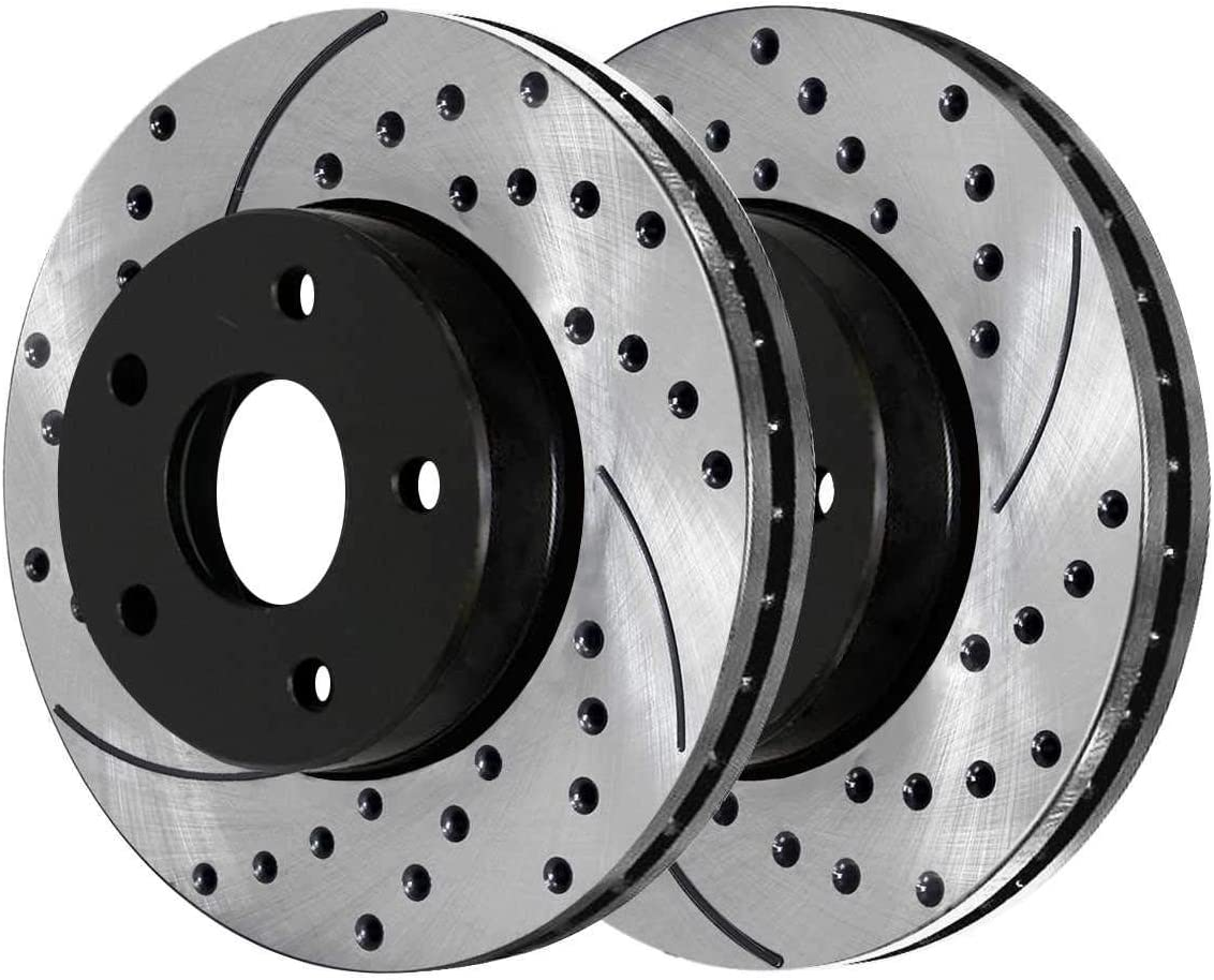 Stirling 2015 For Nissan Pathfinder Front Cross Drilled Slotted and Anti Rust Coated Disc Brake Rotors and Ceramic Brake Pads